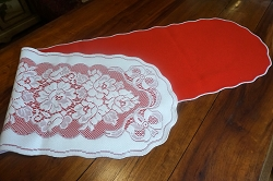Reversible Red and Lace Table Runner