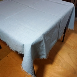 Blue Linen Tablecloth with Fringe