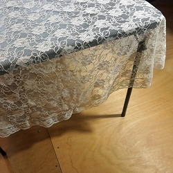 60 in. Round Ivory Lace Tablecloth