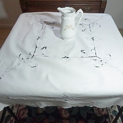 White Linen Tablecloth 46x46