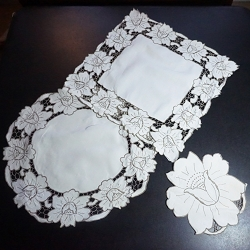 Doily Set - Taupe on Ivory