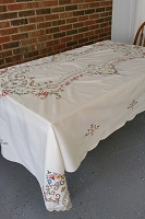 Fancy Floral Cross Stitch Tablecloth