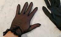 Vintage Sheer Black Lace Gloves