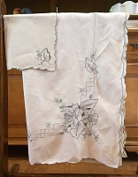 Tablecloth with Gray Embroidery 100x70 , 12 Napkins