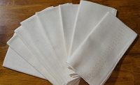 Set of 8 Dinner Napkins, 1970's, Ivory