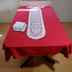 Red Linen 1970s Tablecloth 52x13
