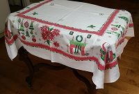 Vintage 50's Christmas Tablecloth