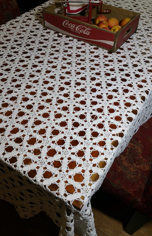 Vintage Crocheted Tablecloth 56 x 72