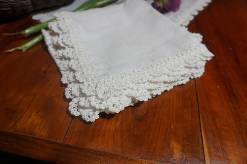 6 Napkins with Crochet Edges