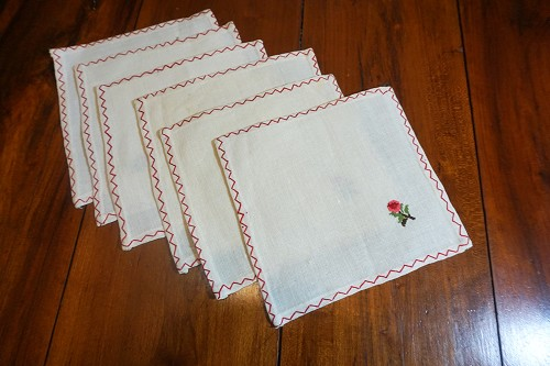 Rose Embroidery Cocktail Napkins - Set of 6
