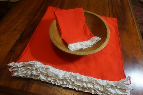 12 Red Napkins with White Ruffles