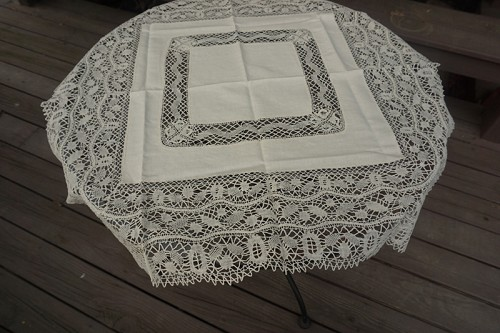 Ivory Linen and Lace Tablecloth 33x33