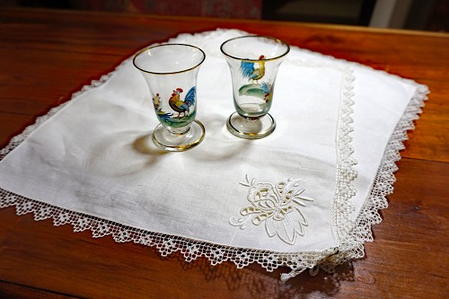 6 Vintage White Embroidered Lace Napkins