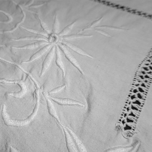Large Floral Embroidered Tablecloth 96x82
