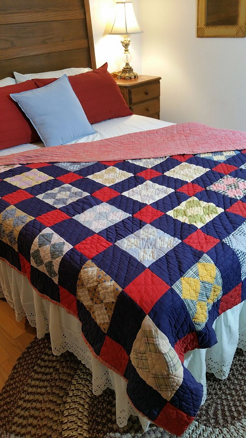 Hand Made Blue & Red Quilt, Vintage 1930's