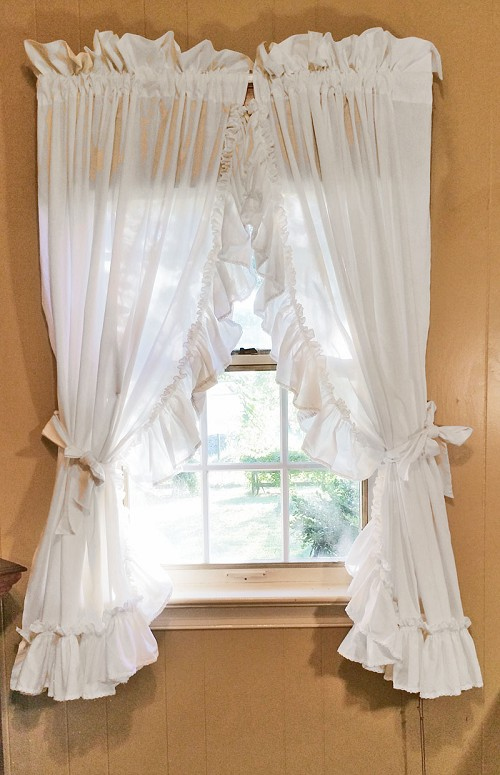 Ruffled Country Curtains, White