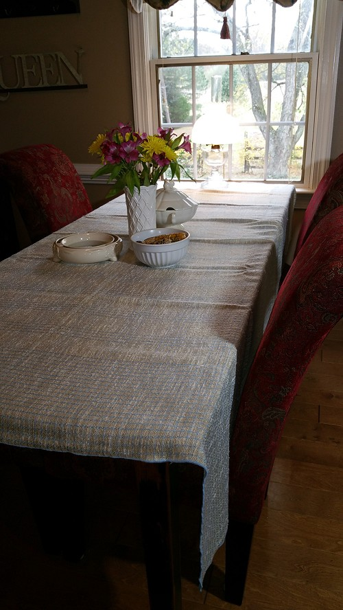 Blue & Beige Tweed Check Tablecloth 82x68